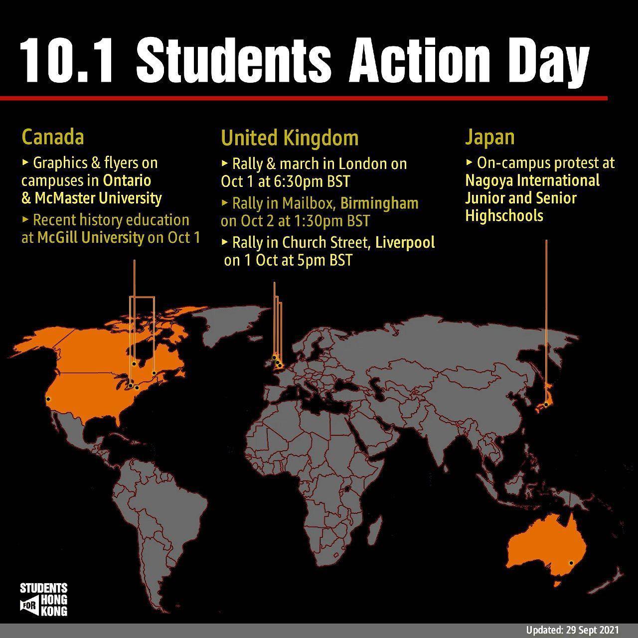 10.1 Students for Hong Kong Action Day
