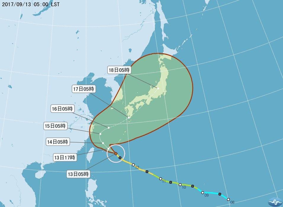 泰利颱風偏北腳步慢 陸警延至上午發布