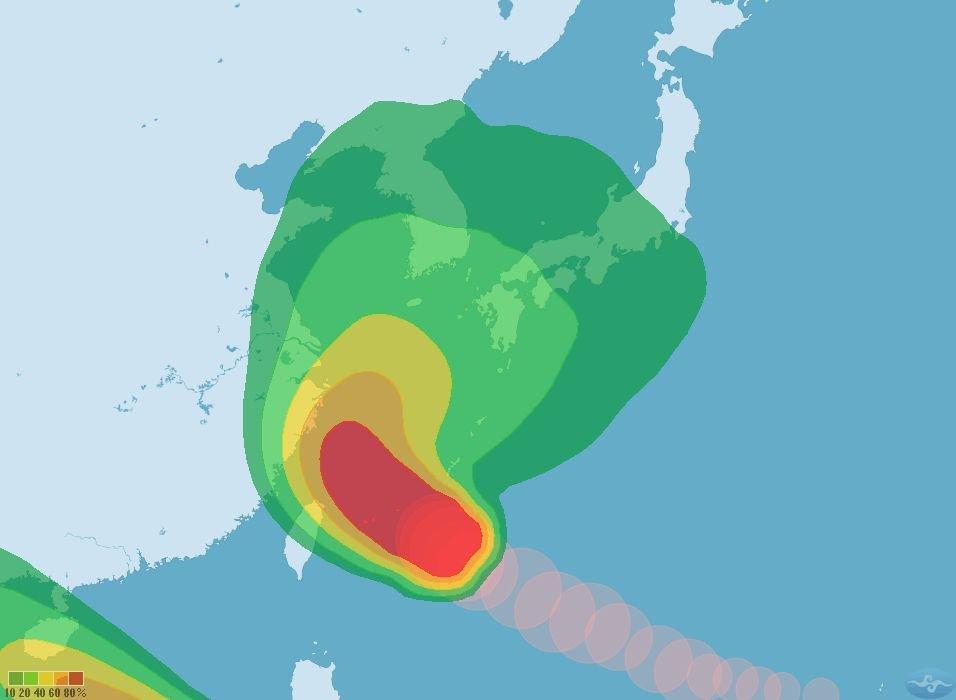 泰利颱風北轉角度大 對台威脅降低
