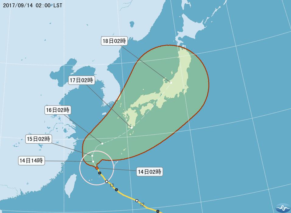 颱風泰利變胖  暴風半徑擴大為250公里