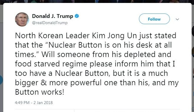 不只你有 川普:我也有核按鍵而且更大