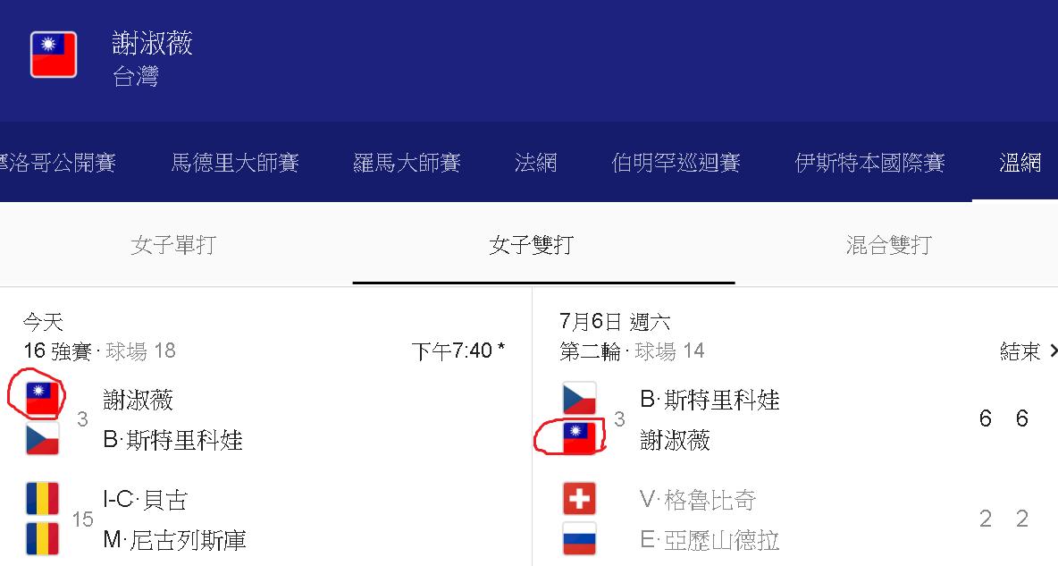 Google溫網賽程資訊 ROC國旗重新上架