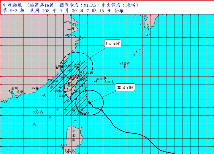 米塔增強變中颱 台中以北及南投9縣市需警戒
