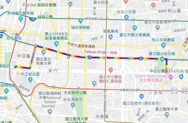 台灣同志遊行明登場 Google地圖出現彩虹路線