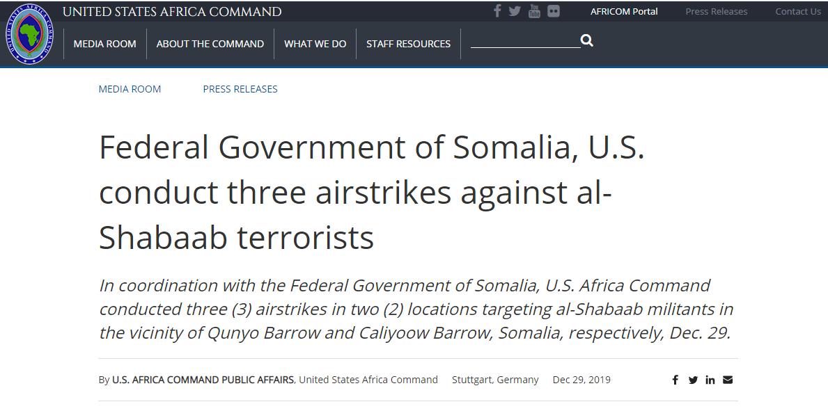 美軍非洲司令部:擊斃4名索國好戰份子