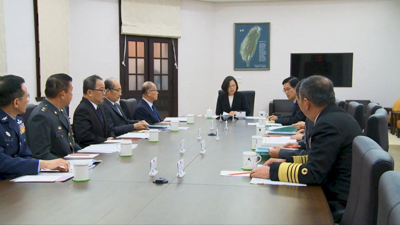 蔡總統召開國防軍事會談 請三軍將領確保軍心民心穩定