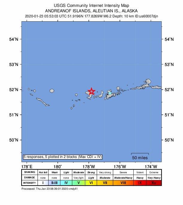 阿拉斯加最西部6.2地震 未發海嘯警報