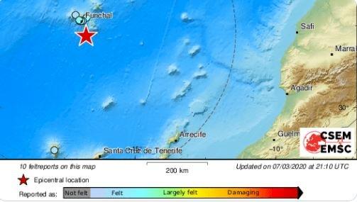 葡國馬迪拉群島規模5.2地震 未傳人員傷亡