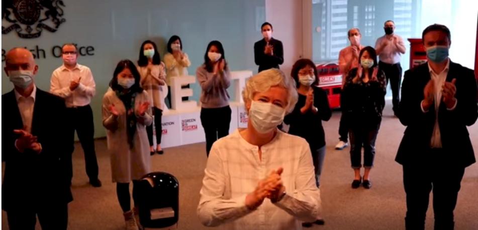 英國在台辦事處鼓掌 感謝台灣醫護守護