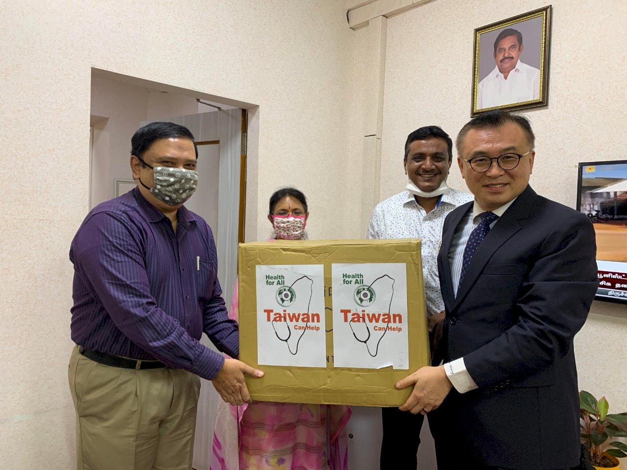 駐印度清奈辦事處贈4.5萬口罩給坦米爾那都省