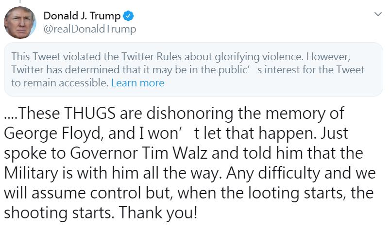 再槓上川普 推特將川普推文標記「美化暴力」