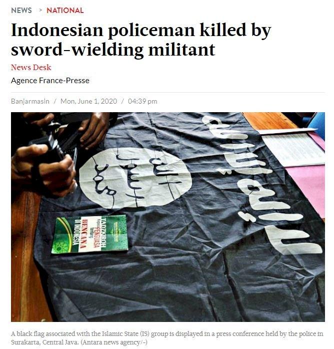 印尼傳IS份子揮劍攻擊 員警1死1傷