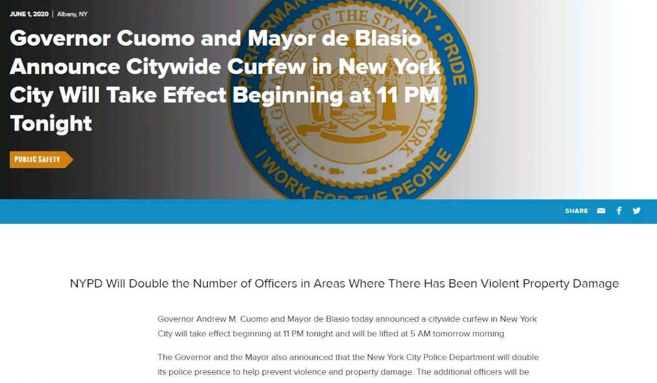 紐約市實施宵禁 防反種族歧視示威惡化