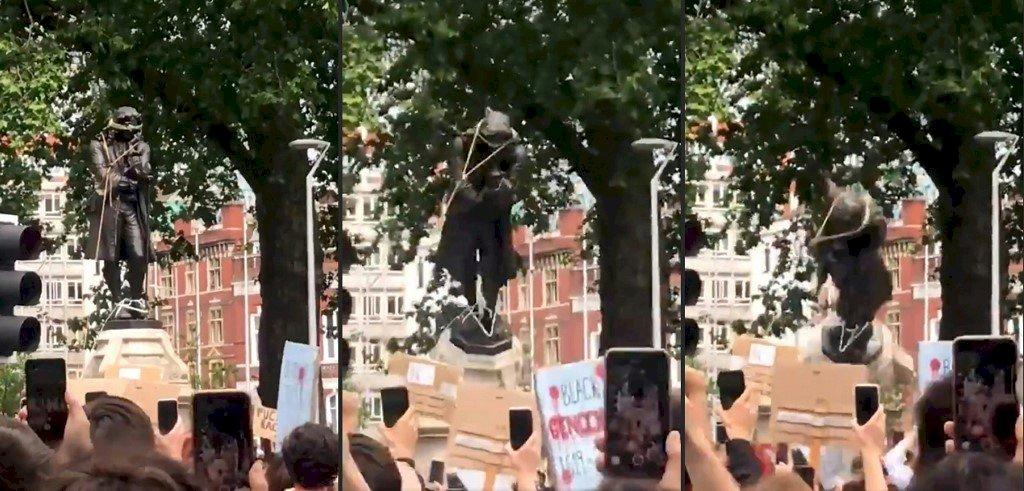 抗議種族歧視 英國示威者拆除17世紀奴隸商雕像