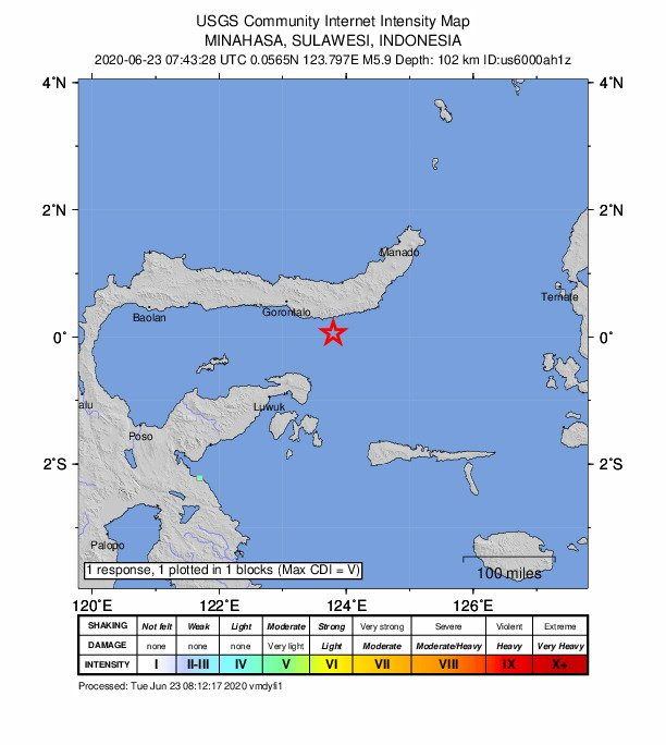 印尼蘇拉威西規模6地震 尚未傳災損傷亡