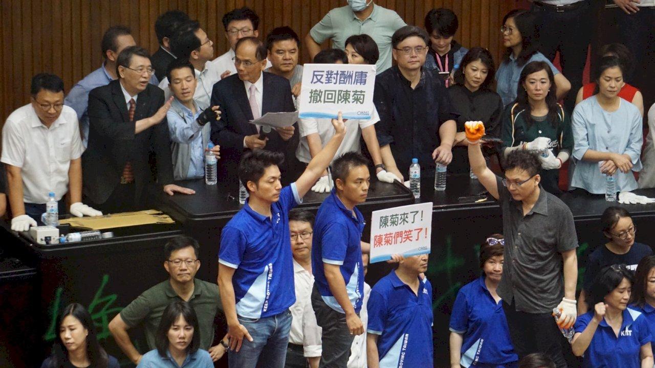 藍營抗議監委人事案 立院臨時會在朝野衝突中登場