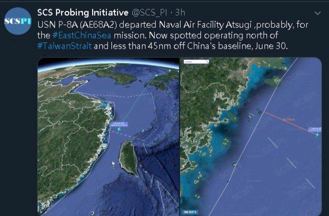 港區國安法草案通過敏感時刻 美軍機穿越台灣海峽
