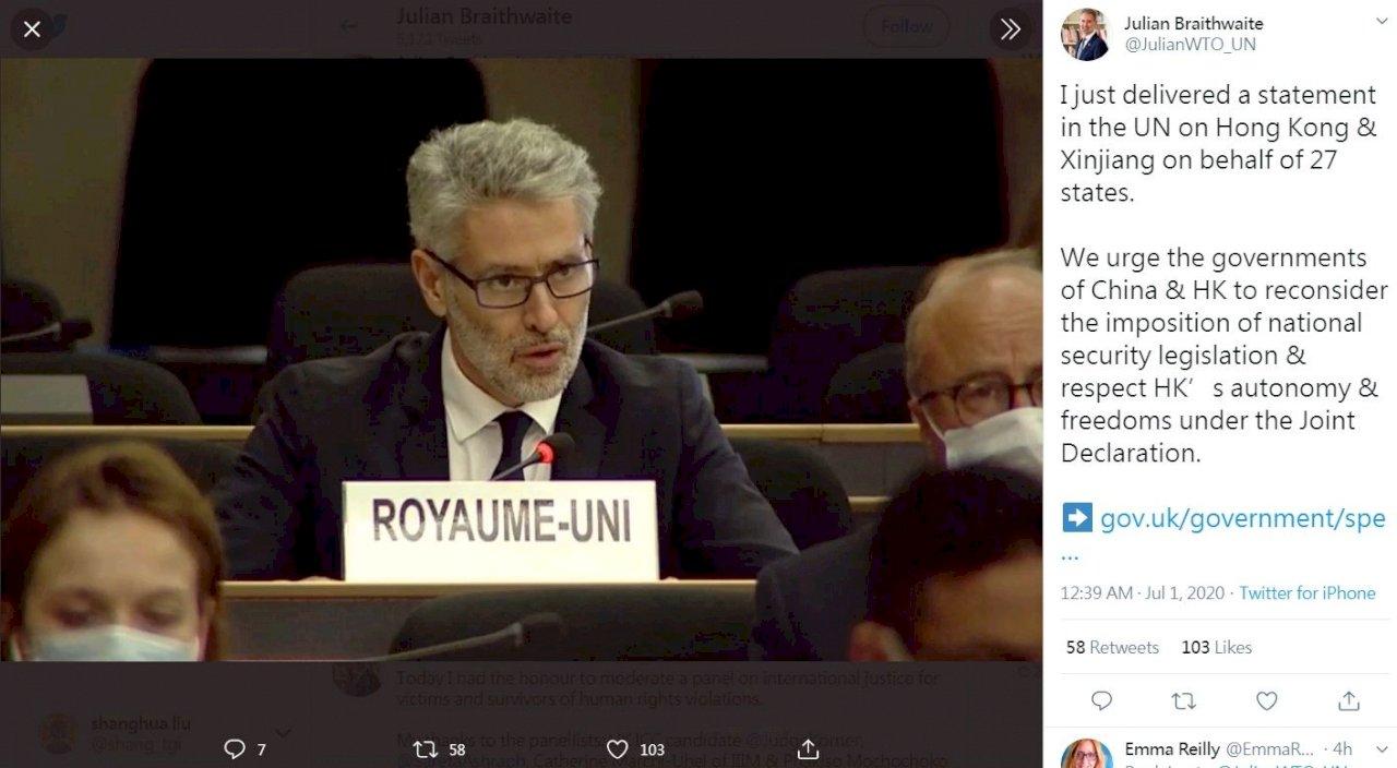 20多個西方國家聯合國發聲 籲中國廢港區國安法