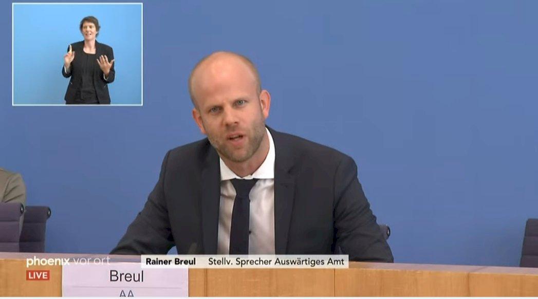 德國外交部副發言人發言人布洛伊爾(Rainer Breul)在聯邦記者會上,回答台灣相關問題。(截自影片)