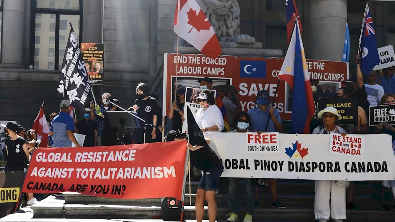 宛如聯合國!加拿大跨國族裔聯合抗議中共暴行(影音)