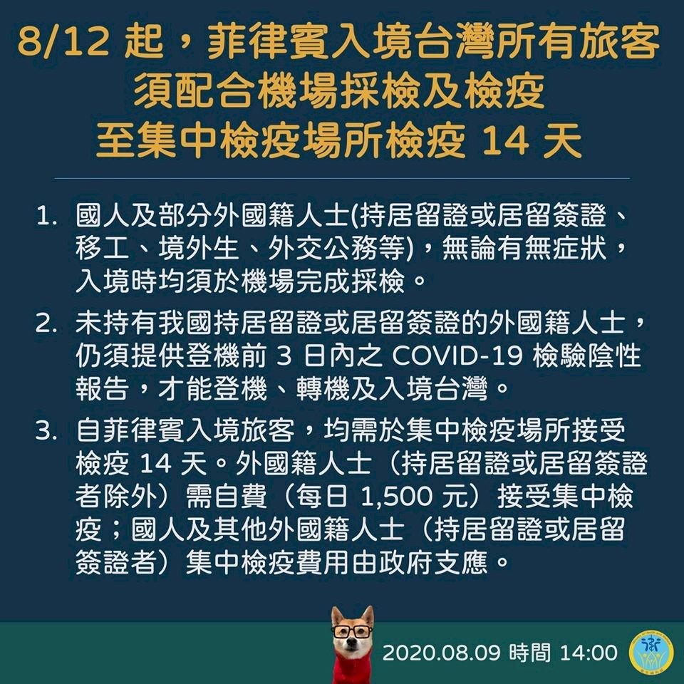 因應菲國疫情 入境台灣所有旅客須採檢+集中檢疫