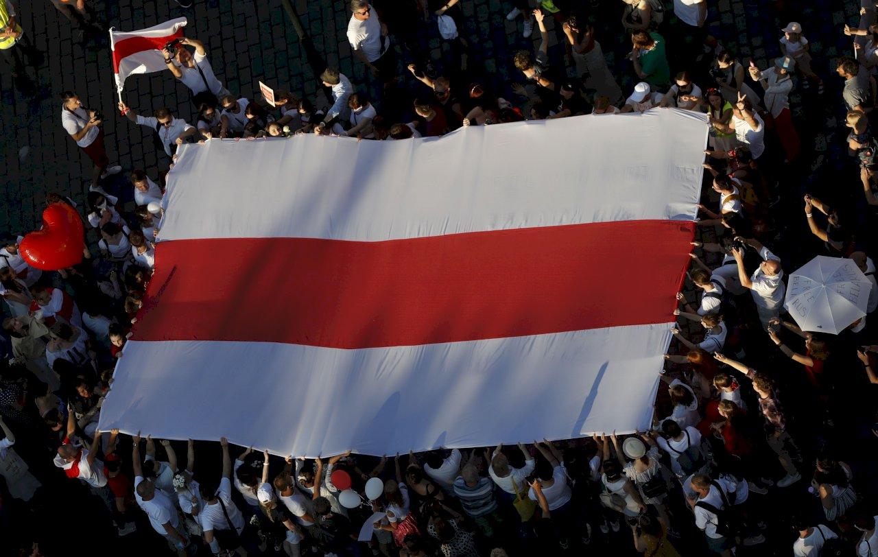 捷克布拉格舉行集會 聲援白俄示威人士