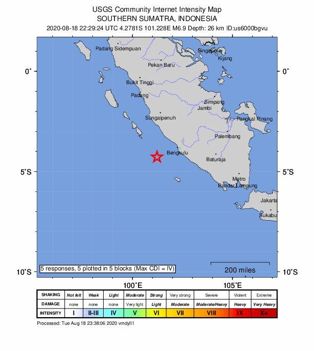 印尼蘇門答臘島南部連傳地震 規模6以上