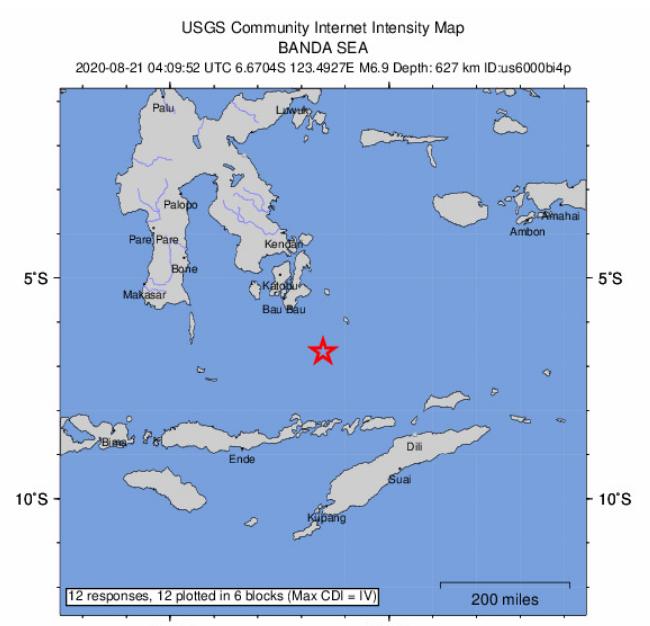 印尼外海規模6.9地震 無海嘯疑慮