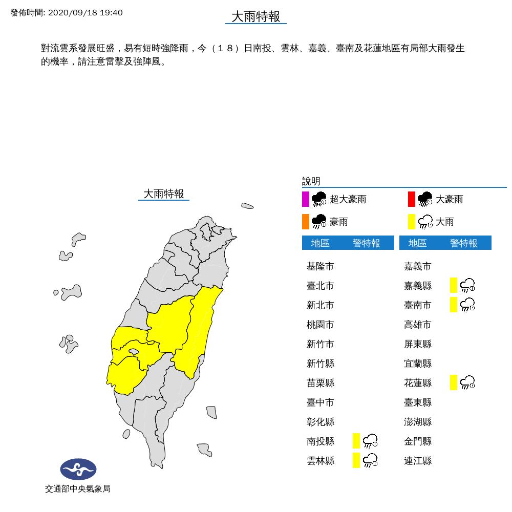 對流發展旺 台南等5縣市今晚防大雨