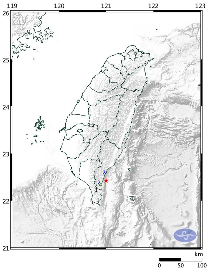 台東連十震 規模3.7最大震度4級