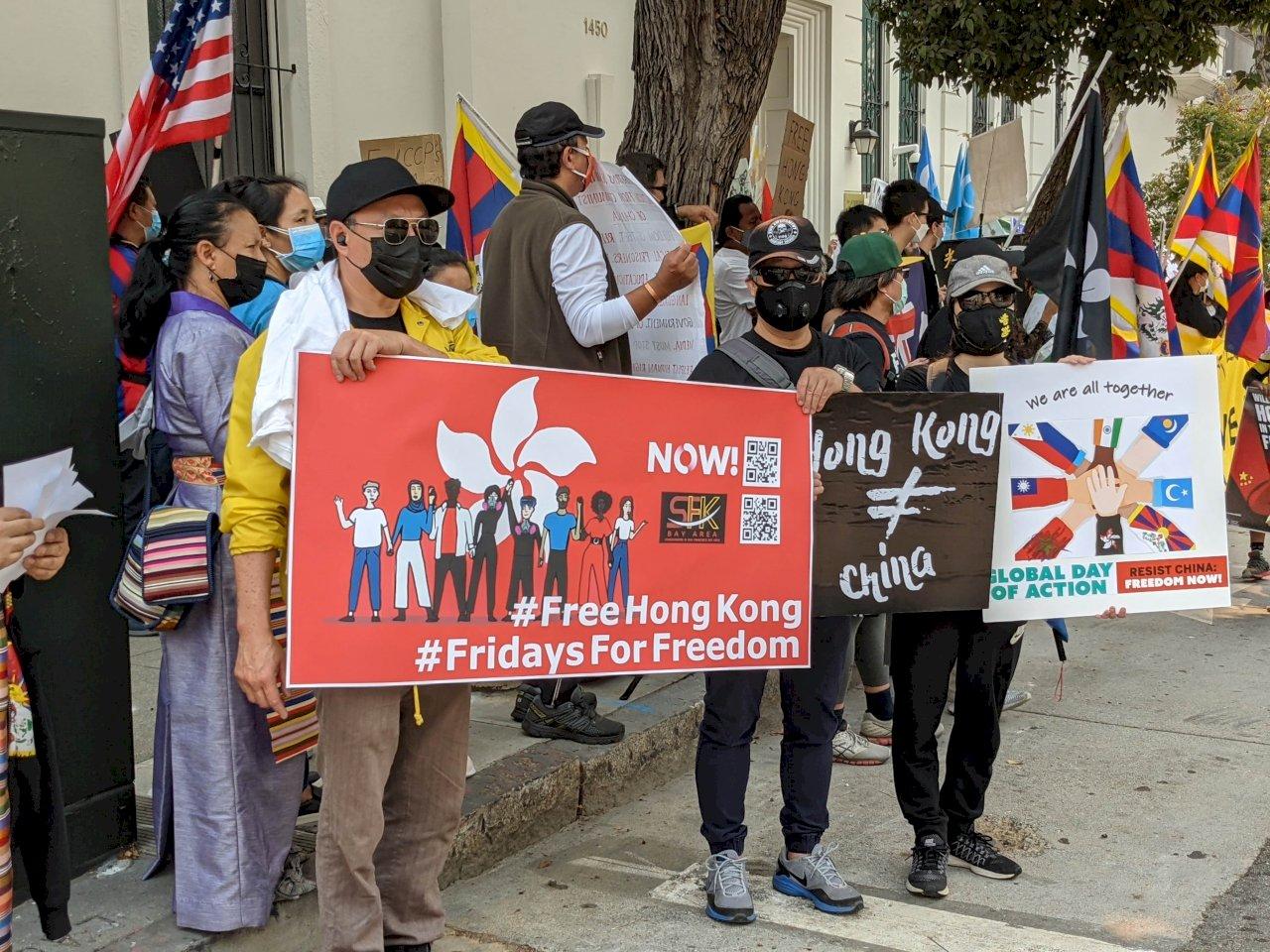 十一抗中 洛杉磯示威人群聚集中國領事館
