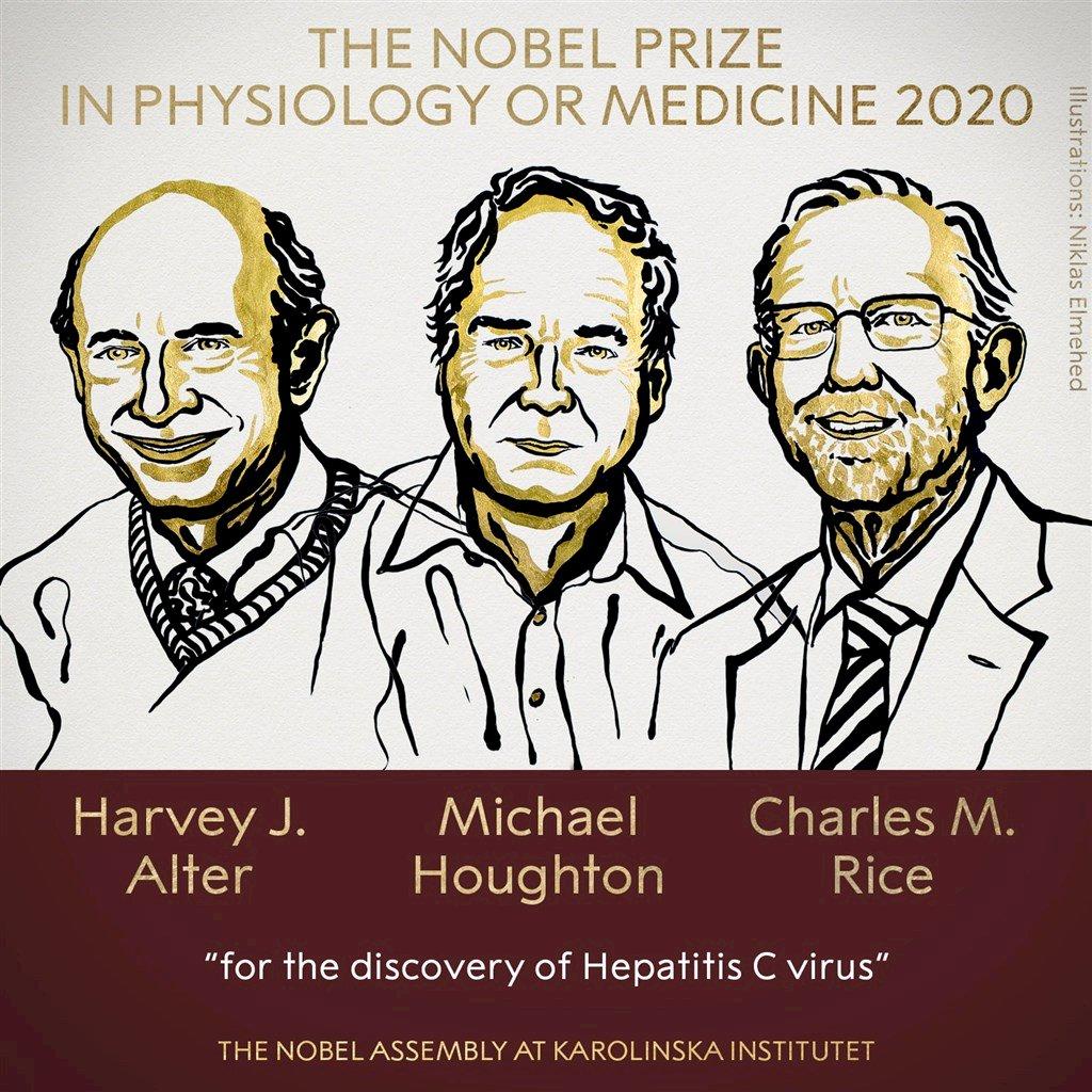 諾貝爾醫學獎 英美3學者研究C型肝炎獲殊榮