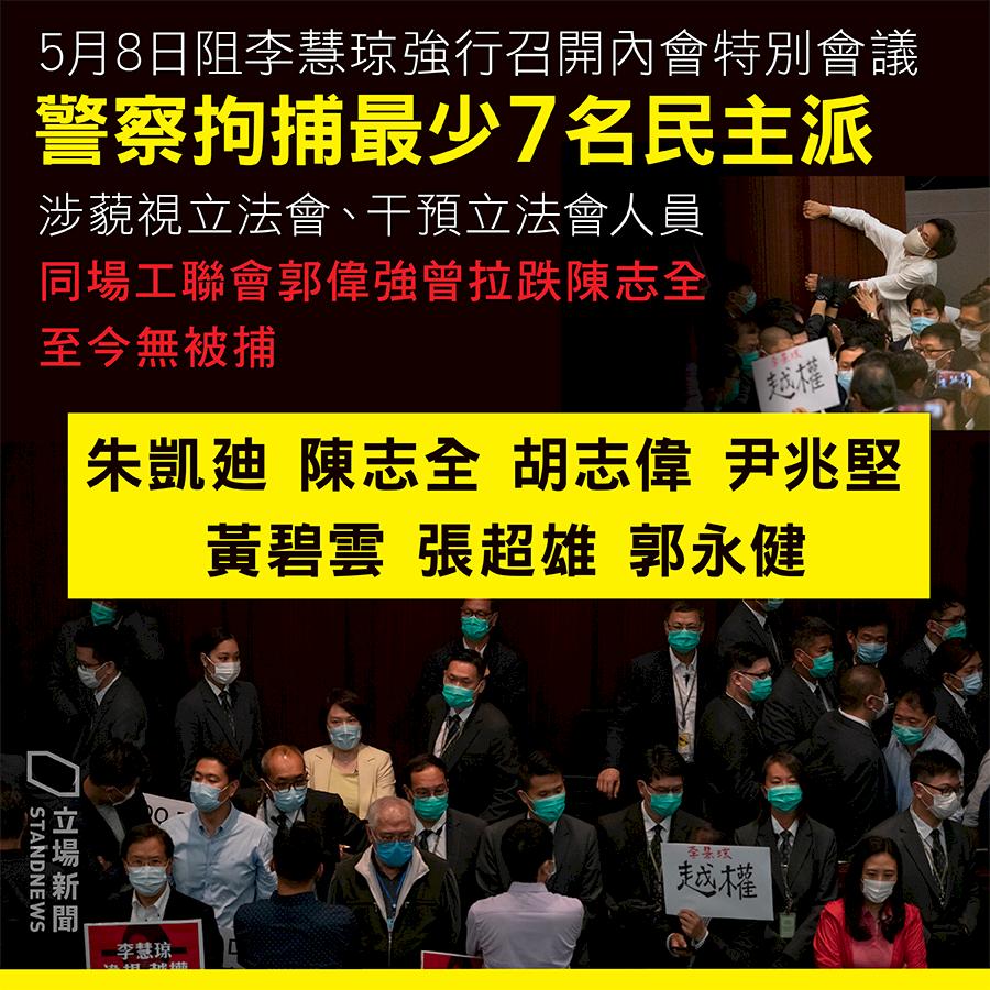港泛民7人被捕 警方:涉立法會藐視與干預等罪