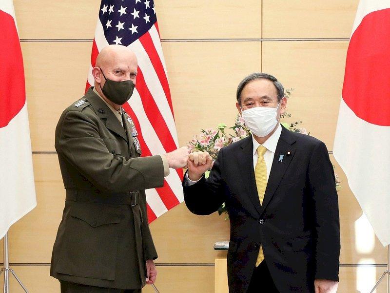 菅義偉會美陸戰隊司令 同意加強美日同盟合作