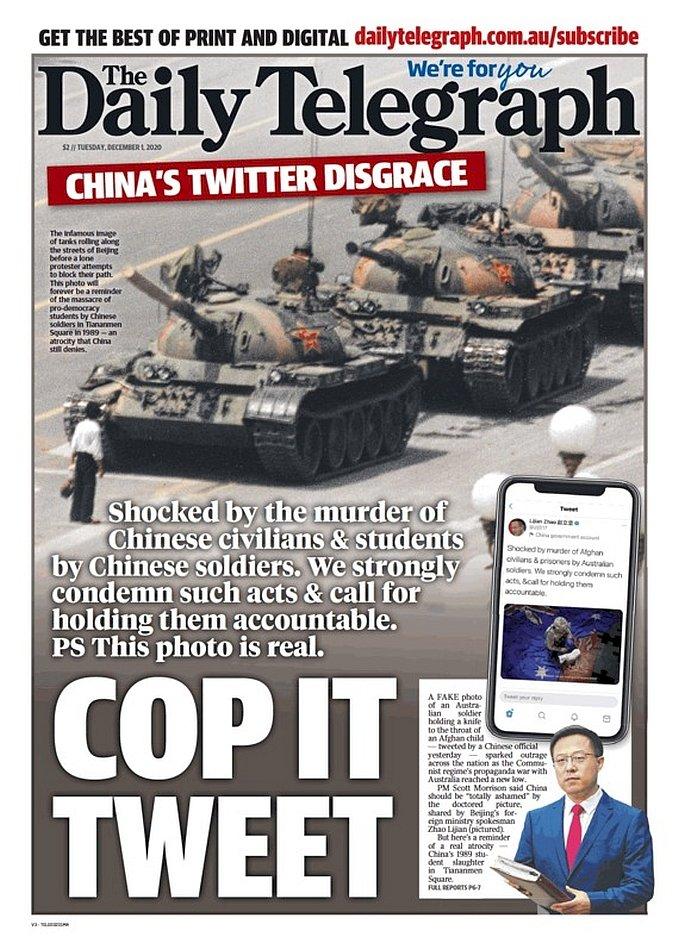 趙立堅假圖vs坦克人真圖大戰 中使館稱澳朝野怒火是「誤讀誤解」