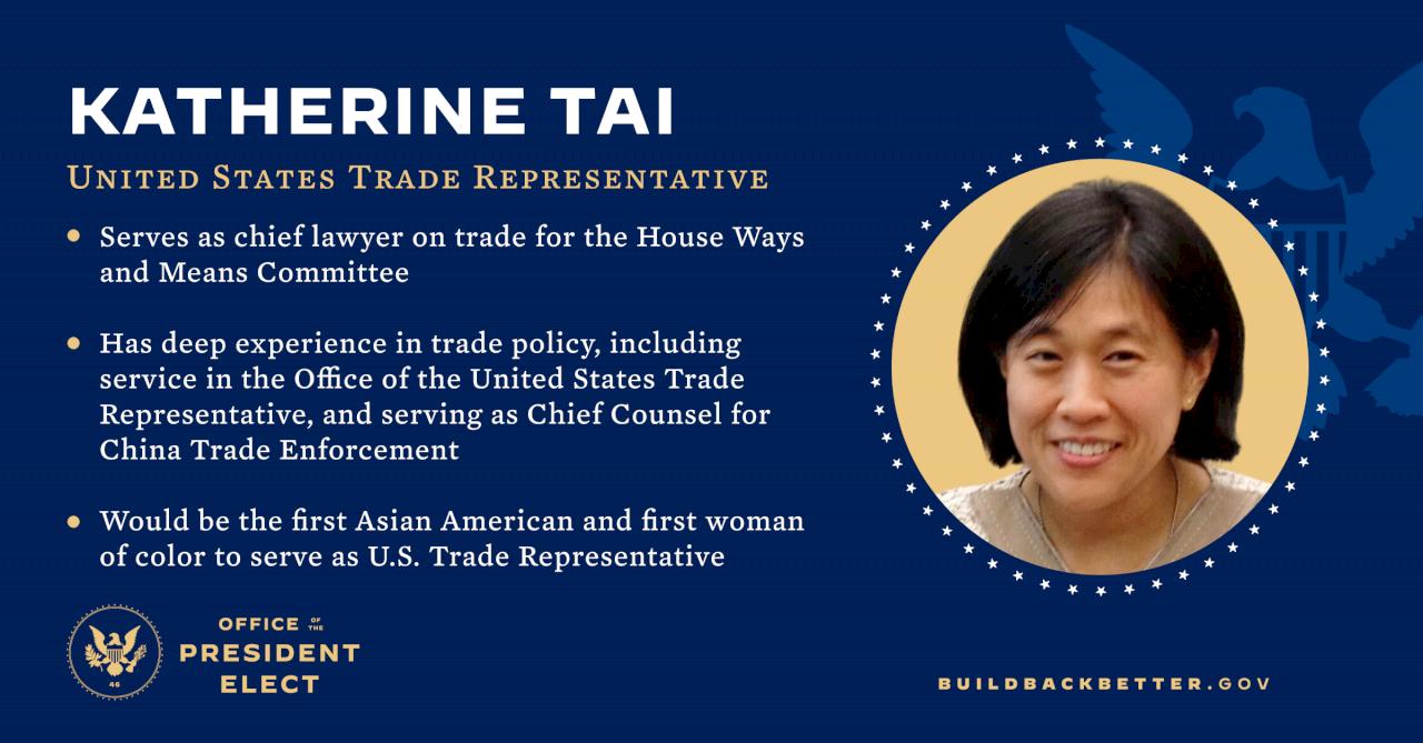 拜登挑選戴琪出任美貿易代表 雙親來自台灣