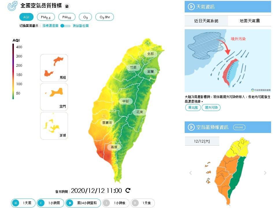 境外空污影響 北部局部、中南部空氣品質亮橘燈