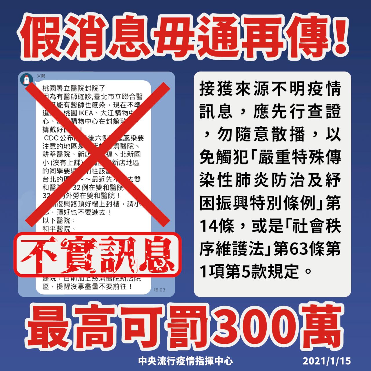 網傳「沒事不要去以下醫院」是假的 指揮中心:請勿轉傳以免觸法