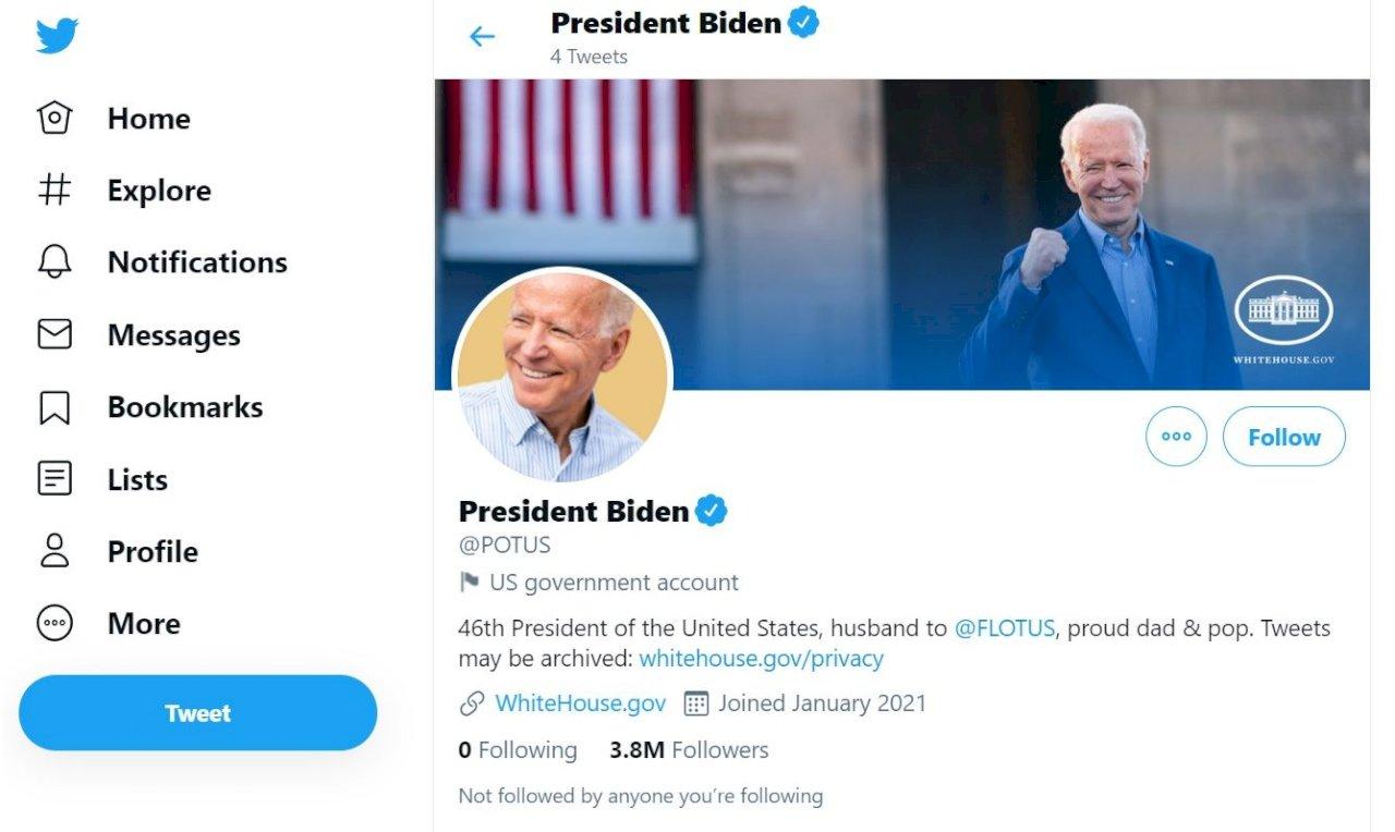 拜登走馬上任 白宮官方推特帳號換人管