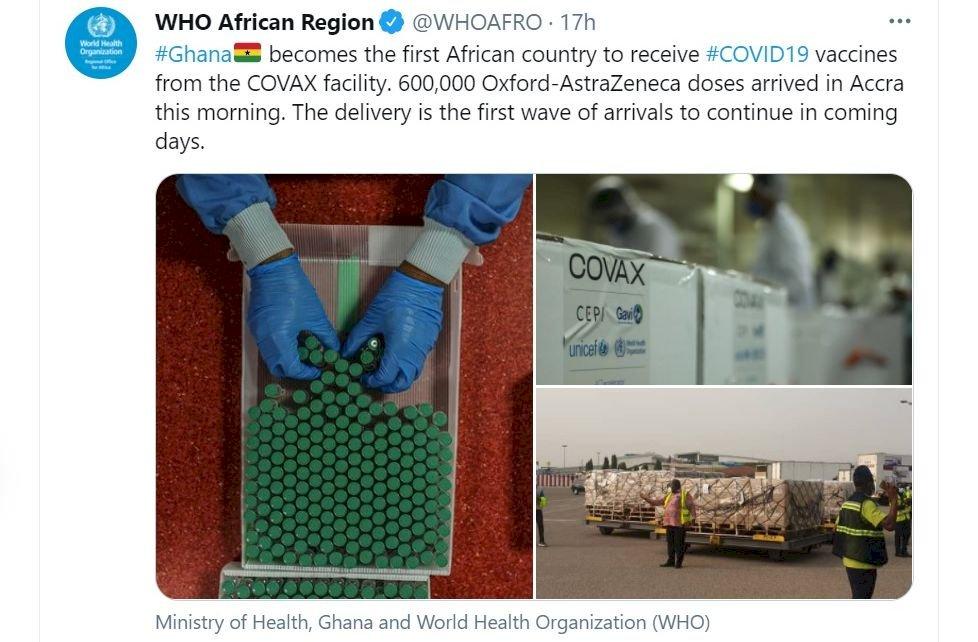 世衛COVAX配送首批疫苗 60萬劑抵西非迦納