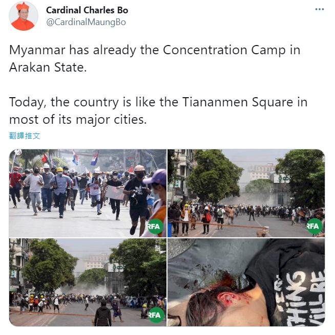 【更新】緬警開槍致18死 緬甸主教:與天安門鎮壓沒兩樣