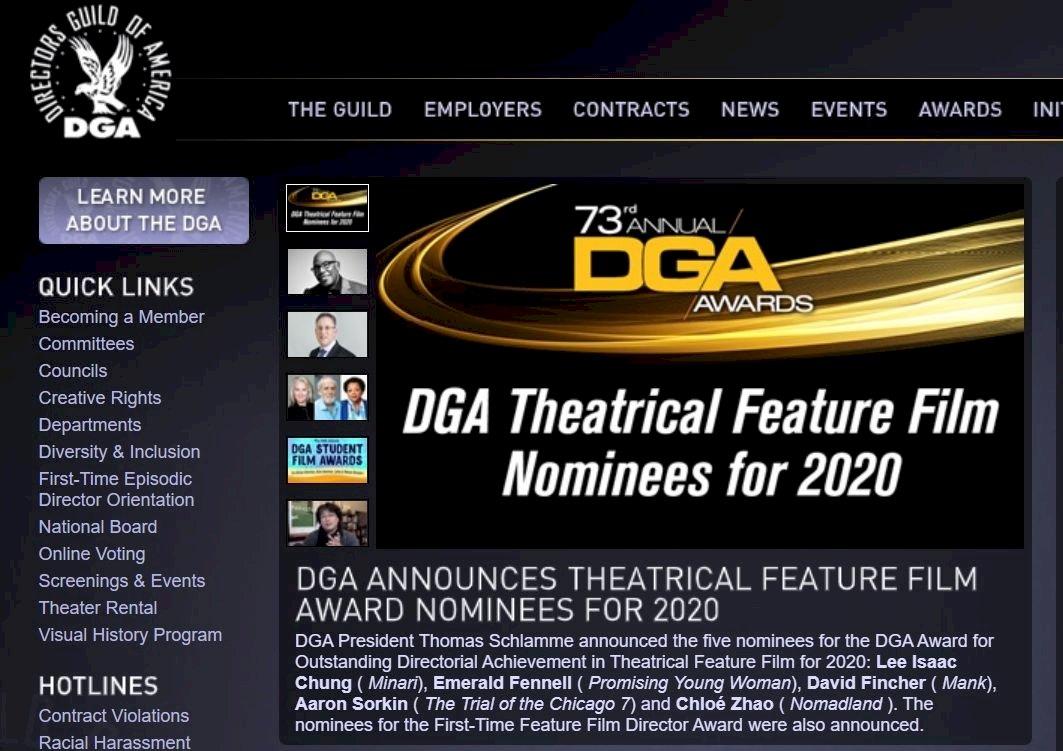 美國導演工會獎入圍名單 首度兩位女導演獲提名