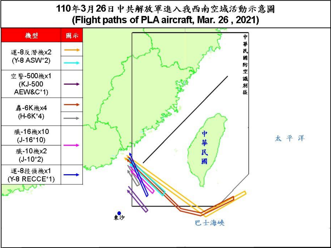 共機大規模擾台 國防部:超前部署應變 確保30浬空域