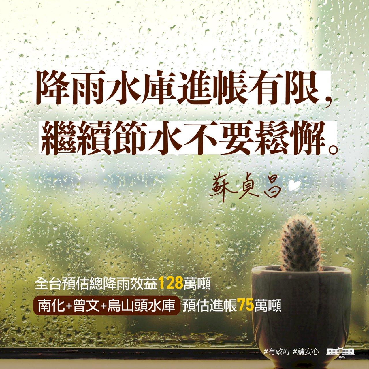 中南部終降雨 蘇揆:水情仍嚴峻 籲繼續節水