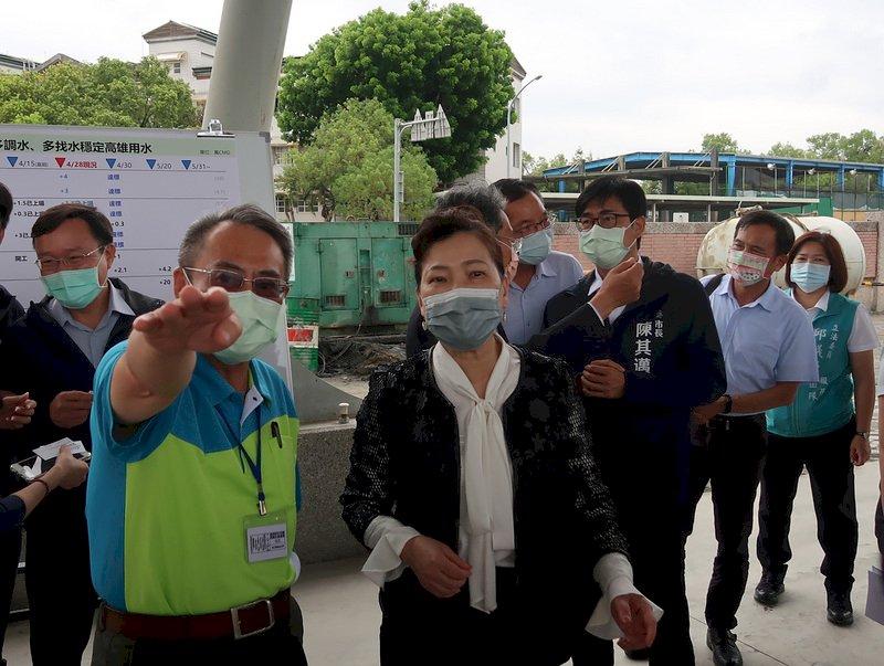 視察抗旱工程 王美花:高雄5月底可日增48萬噸用水