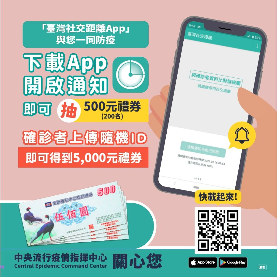 「台灣社交距離App」已上架 指揮中心鼓勵全民下載使用