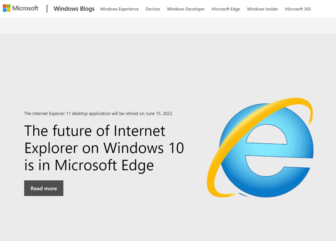 微軟IE瀏覽器叱吒一時 2022年6月終止服務