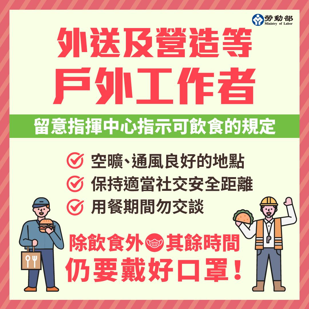 戶外工作者不用躲起來心酸吃飯! 勞動部:暫時取下口罩吃飯沒問題