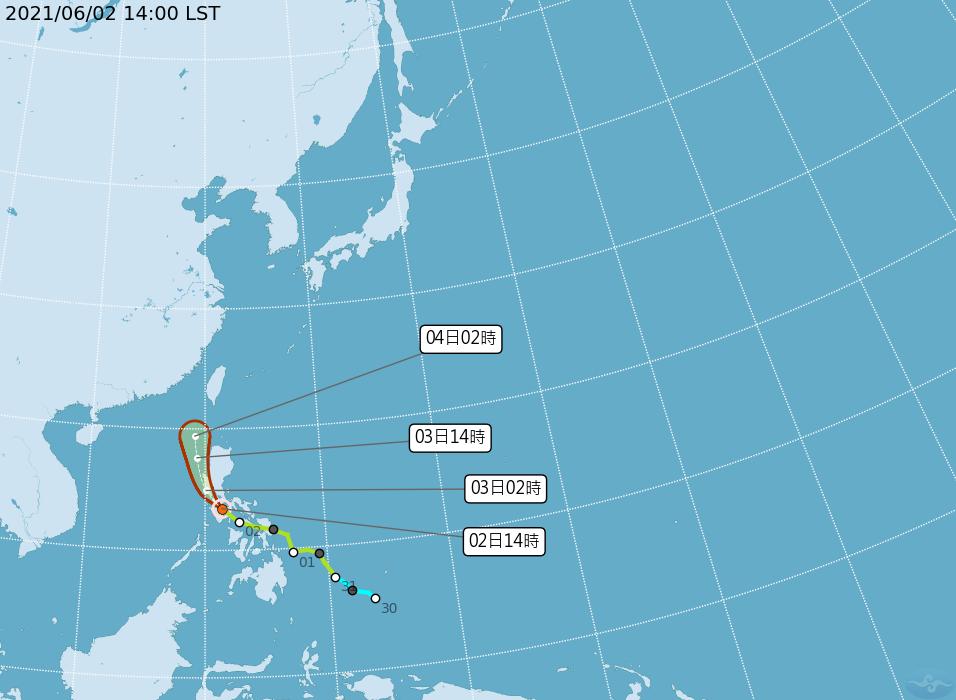 颱風彩雲北上4日帶來水氣 鋒面5日報到明顯降雨