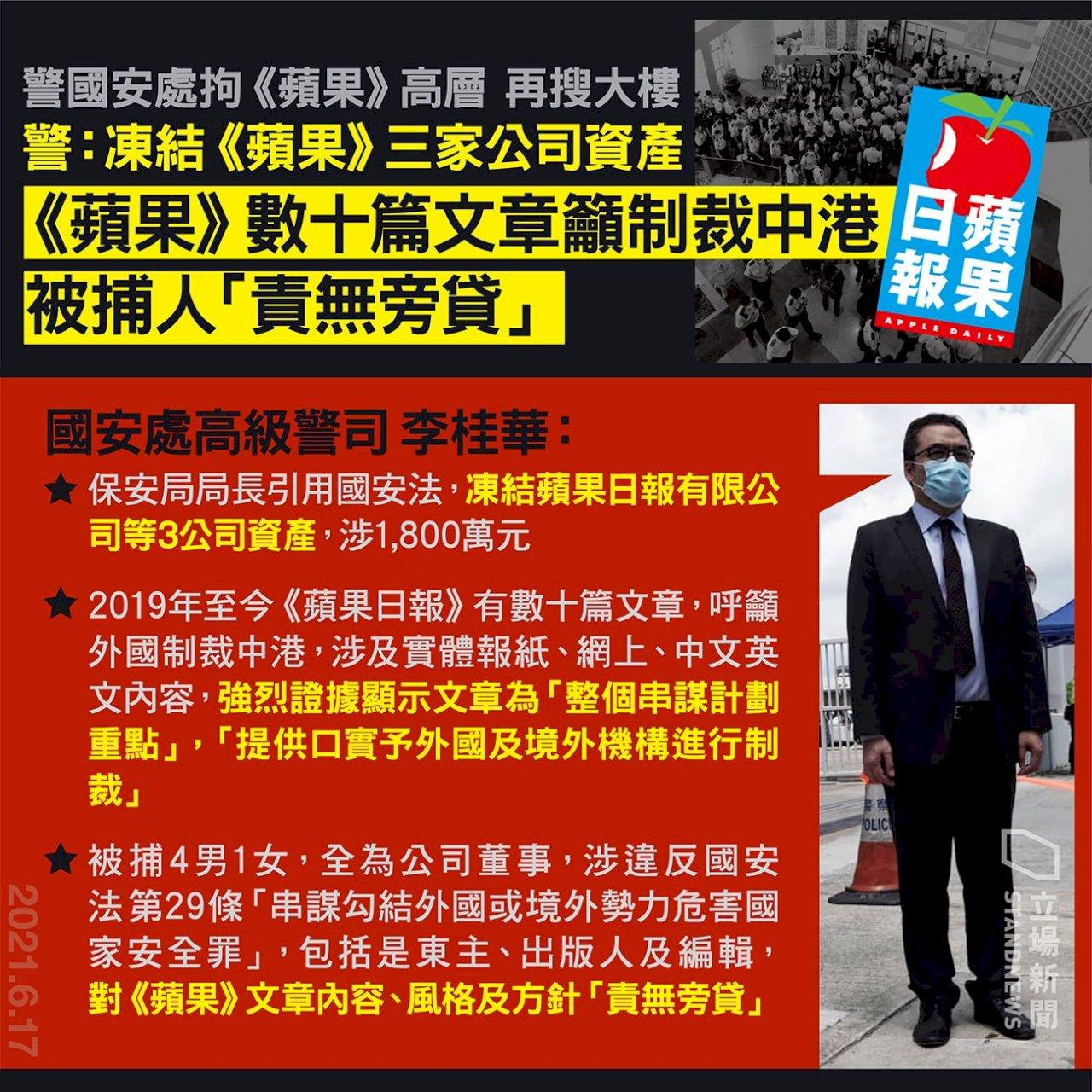 香港蘋果日報5高層被捕  三家公司資產遭涷結